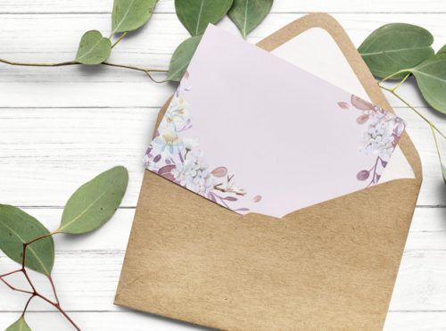 Blank floral invitation card design